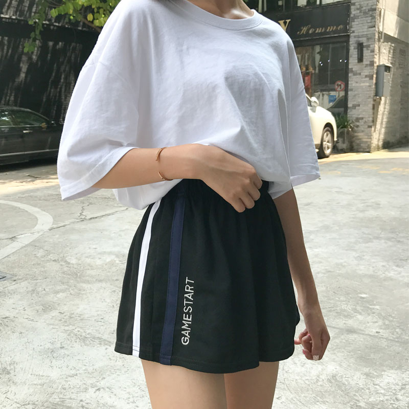 Korean-Style Leisure Running Movement Wide-Leg Shorts Female Summer New Style Versatile Loose Students High Waist L Fat Mm Black