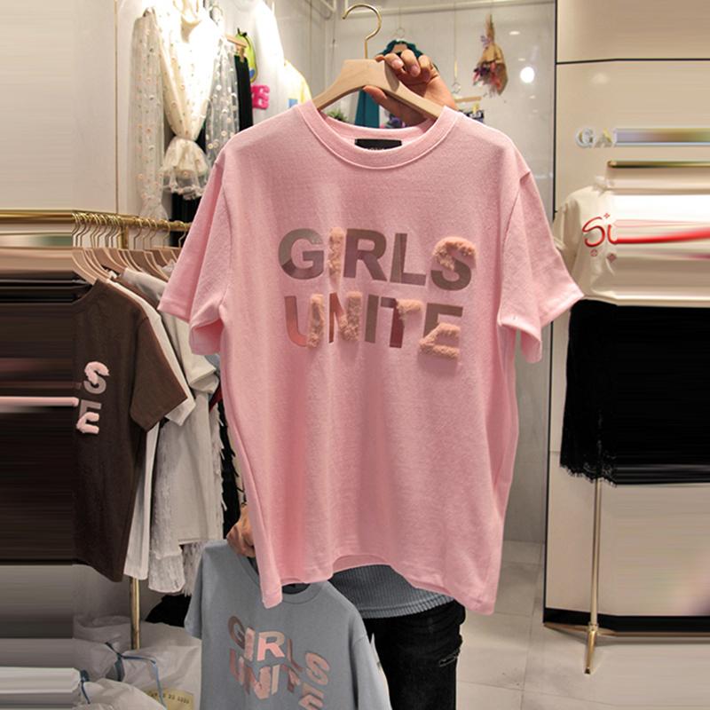韩国2019夏装新款烫金字母短袖T恤女韩版宽松纯棉粉色百搭打底衫