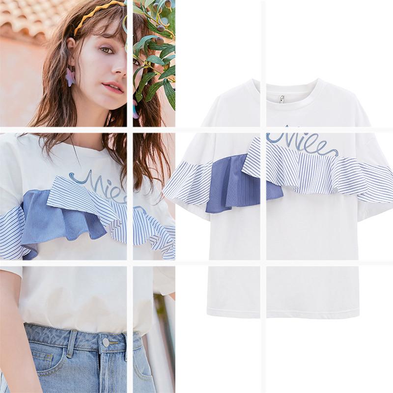 MG小象白色T恤女短袖闺蜜装春季纯棉体恤衣服荷叶边不规则上衣潮