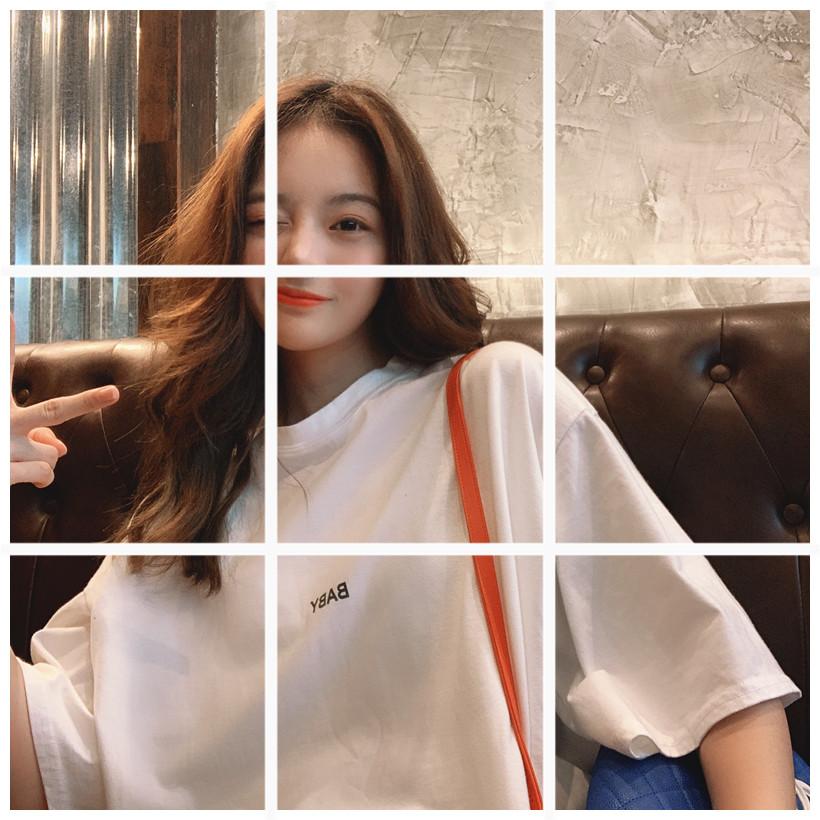 宽松五分袖打底衫字母短袖白色t恤女中长款圆领百搭丅上衣