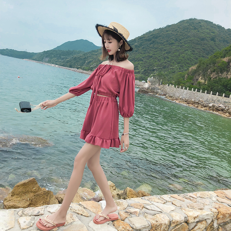 Spot Real Shot List Firm Offers Korean Style New Style off the Shoulder Chiffon Shirt + Western Style Wide-Leg Shorts Set