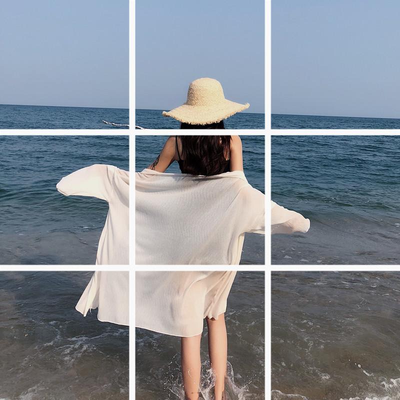 泰国海边度假夏季轻薄飘逸百褶雪纺开衫中长宽松大码薄款防晒衣女