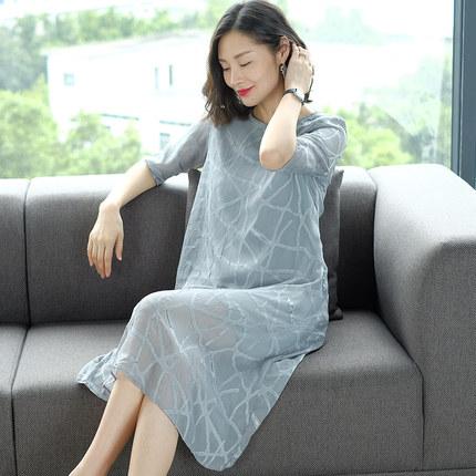 丝麻连衣裙女夏季浅蓝纯色提花中袖裙子韩版中长款2019新款