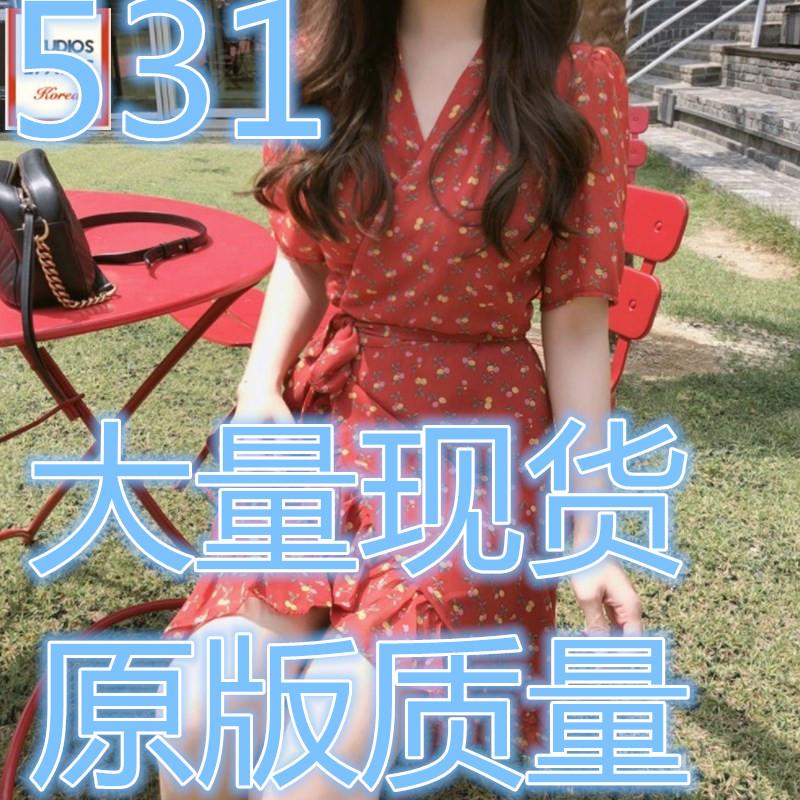 2018夏季韩版新款甜美收腰系带V领碎花印花雪纺荷叶边连衣裙显瘦