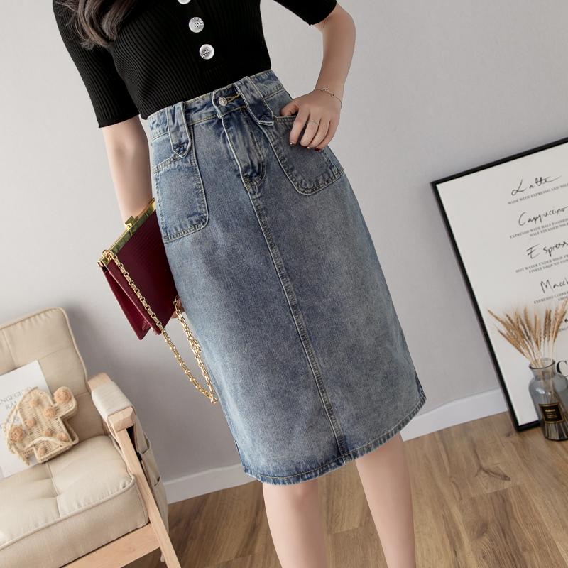 2019新款牛仔裙开叉中长款女夏季 A字半身裙牛仔高腰春款包臀裙