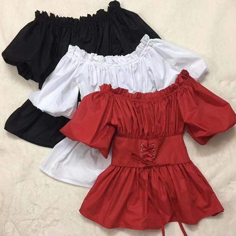 韩美定制新款韩版红色性感露锁骨露肩衬衫收腰bf一字肩上衣女潮