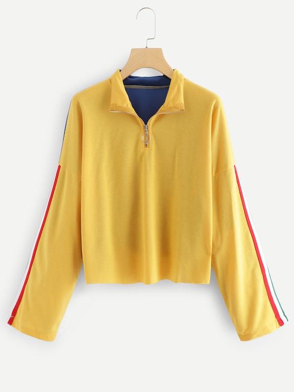 速賣通亞馬遜ebay歐美外貿拼色拉鏈領短款衛衣