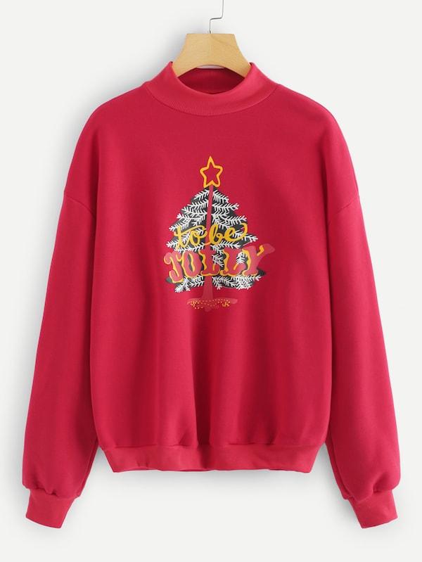 速賣通亞馬遜ebay歐美外貿圣誕樹印花圓領衛衣