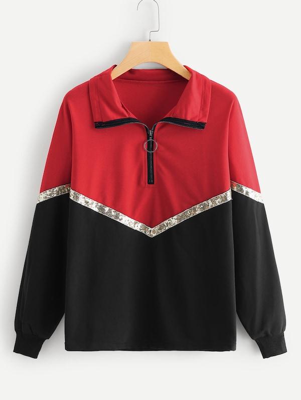 速賣通亞馬遜ebay歐美外貿亮片拼接衛衣