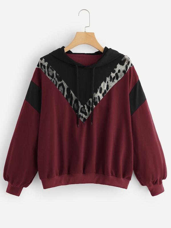 速賣通亞馬遜ebay歐美外貿爆款豹紋拼接衛衣