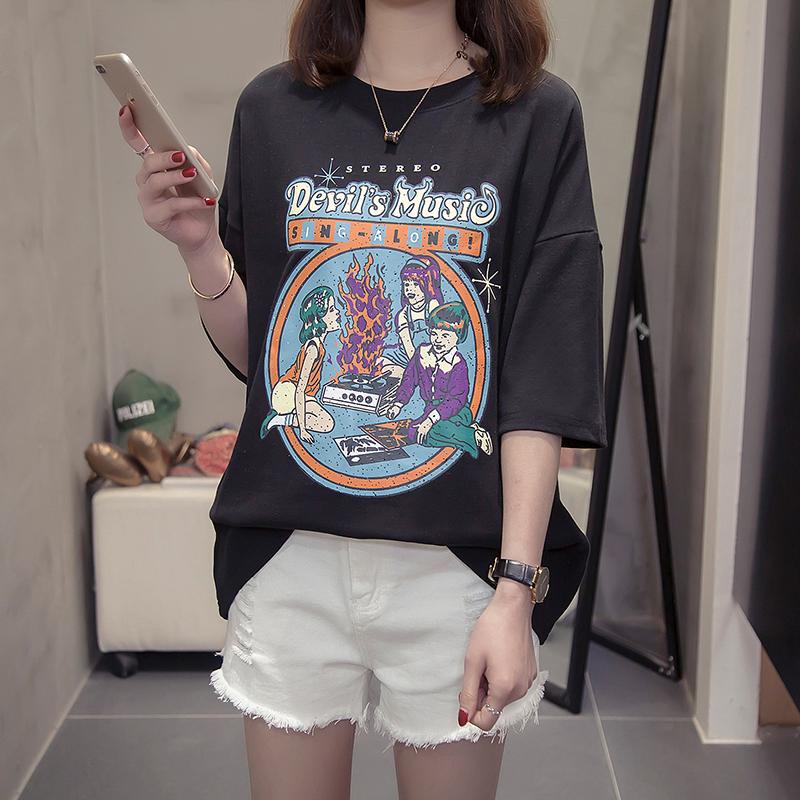 胖mm2019新款夏装韩版体桖ins女装大码纯棉半袖丅血宽松短袖t恤