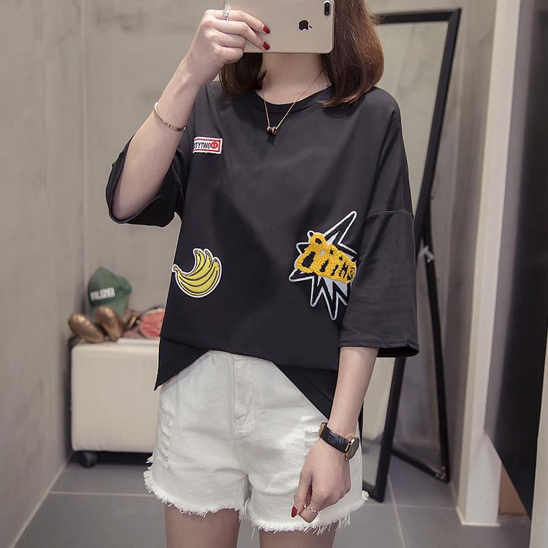 胖mm2019夏季新款短袖t恤韓版圓領印花寬松大碼女裝純棉半袖體恤
