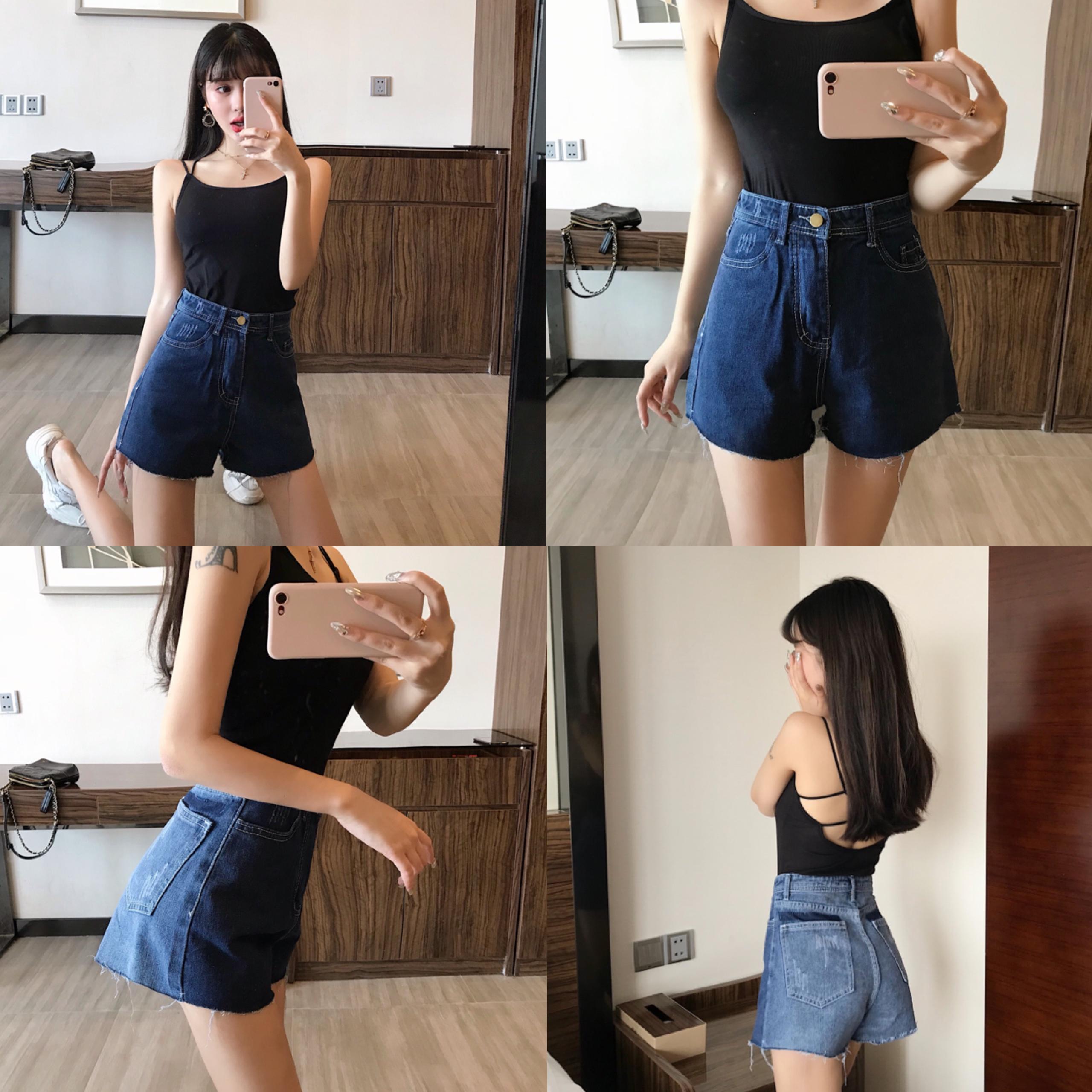 实拍夏季韩版拼色牛仔短裤女高腰复古港风chic休闲裤