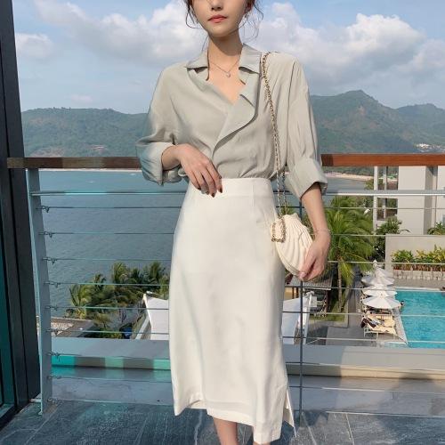 钱夫人CHINSTUDIO定制 日式翻领纯色长袖门襟不规则上衣多色