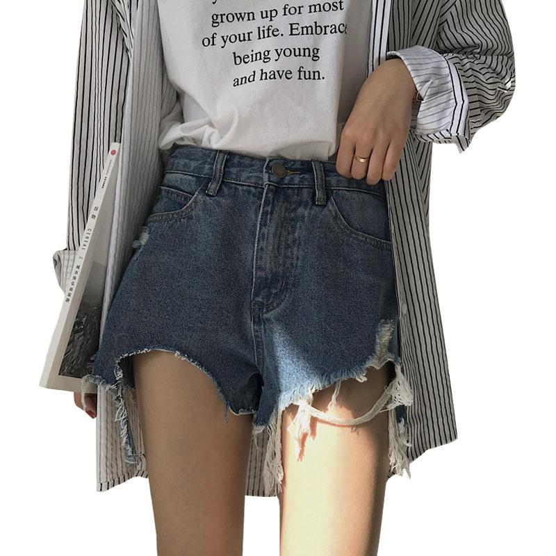 2019新款春装韩版女装裤子学生高腰宽松百搭磨破洗水牛仔裤短裤
