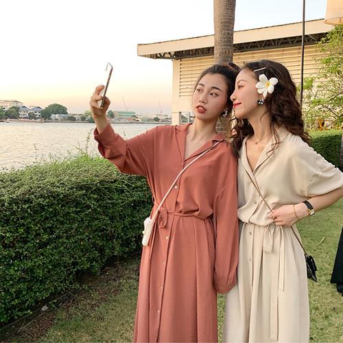 FFAN泛泛 3/18 10:00AM 小众珊瑚橘 贝壳扣衬衫连衣裙 6色可选