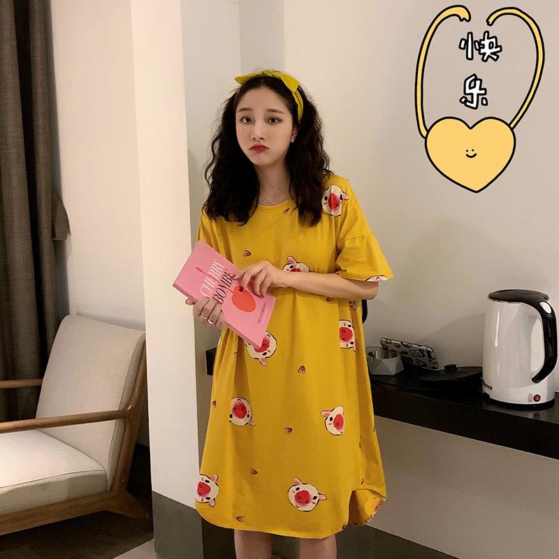 小猪套头睡裙女夏卡通短袖睡衣可爱春夏红色宽松家居服