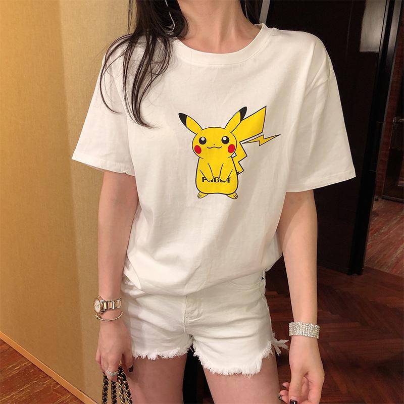 丹丹Daniel卡通白色短袖T恤女