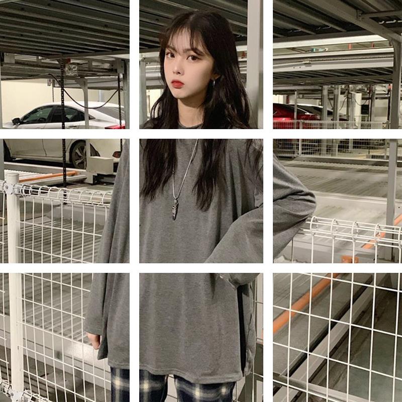 棉女装韩版学院风宽松百搭慵懒风纯色长袖打底衫T恤上衣潮