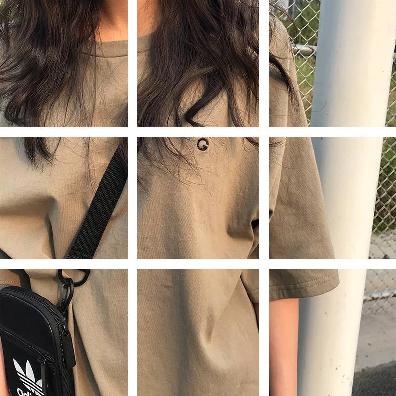 棉复古短袖女学生韩版宽松T恤刺绣G字母日系工装纯色上衣