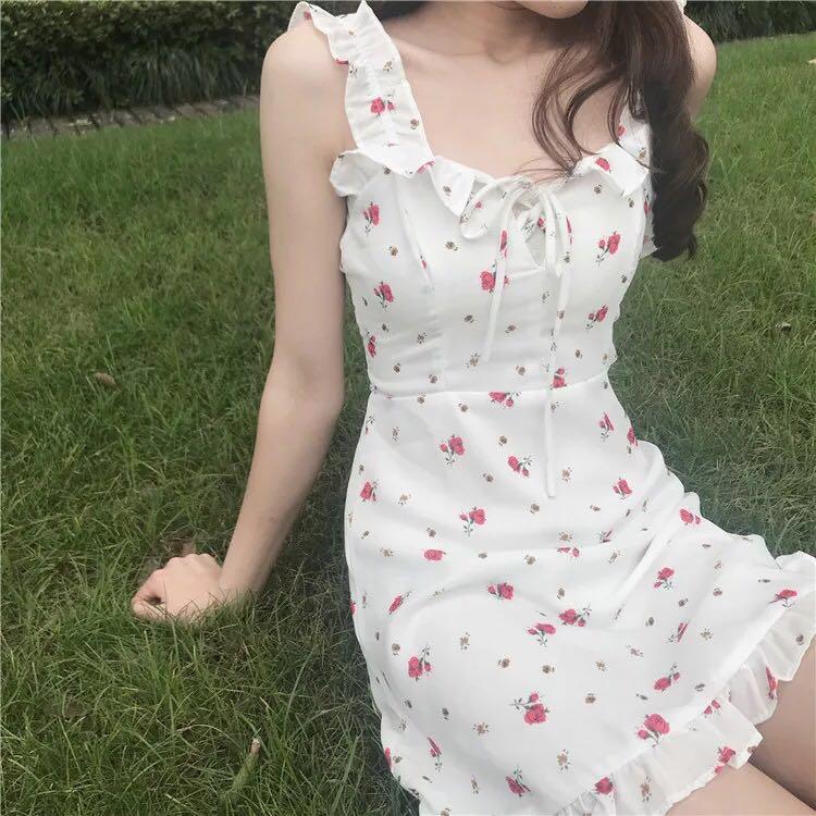LRUD连衣裙女夏装2018新款韩版收腰无袖学生小清新显瘦温柔裙裙子