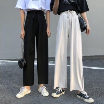 韩版女装裤子纯色宽松显瘦百搭休闲裤阔腿裤高腰裤九分裤长裤