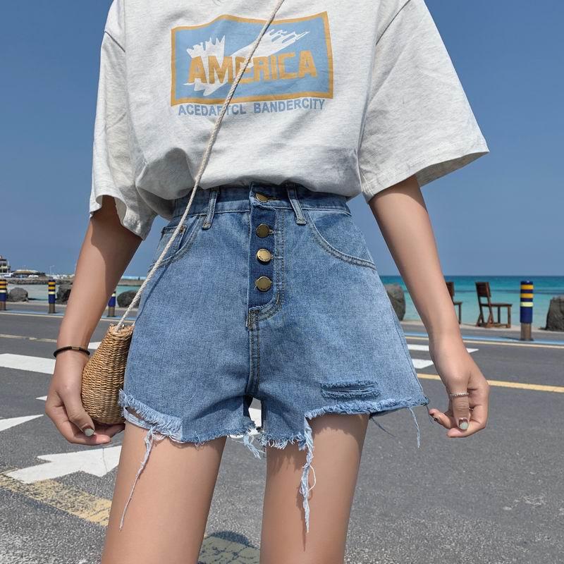 实拍实价2019新款韩版春装裤宽松显瘦破洞毛边牛仔裤短裤阔腿裤女