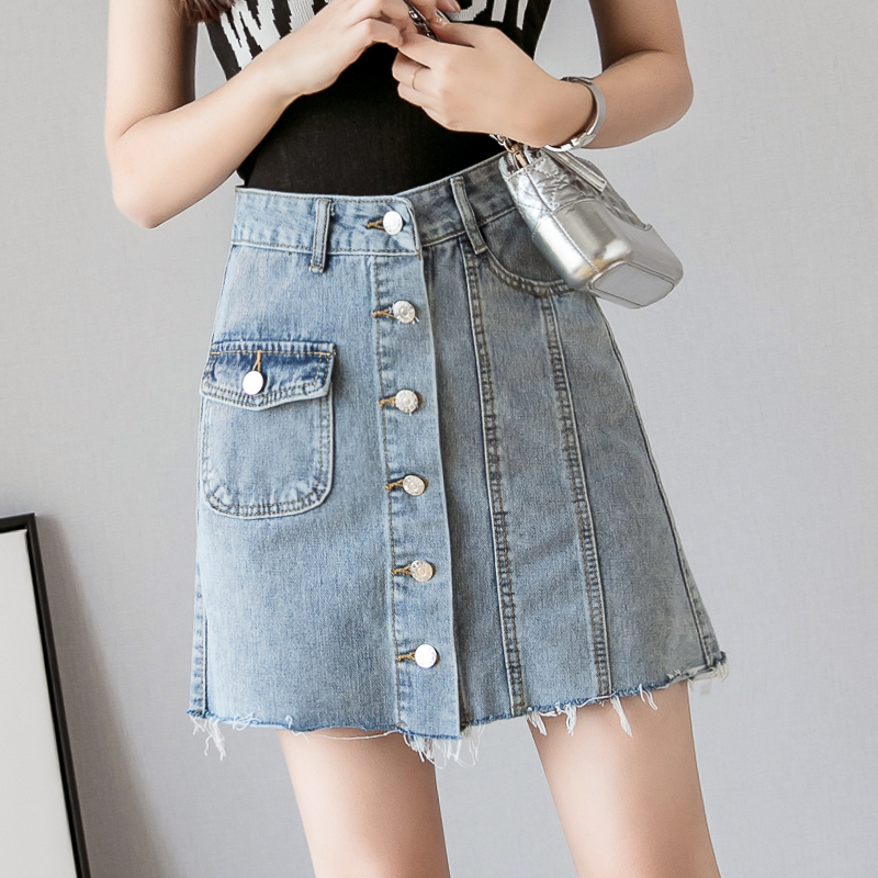 牛仔短裙高腰A字裙夏季2019韩国新款港味单排扣半身裙女ins学生