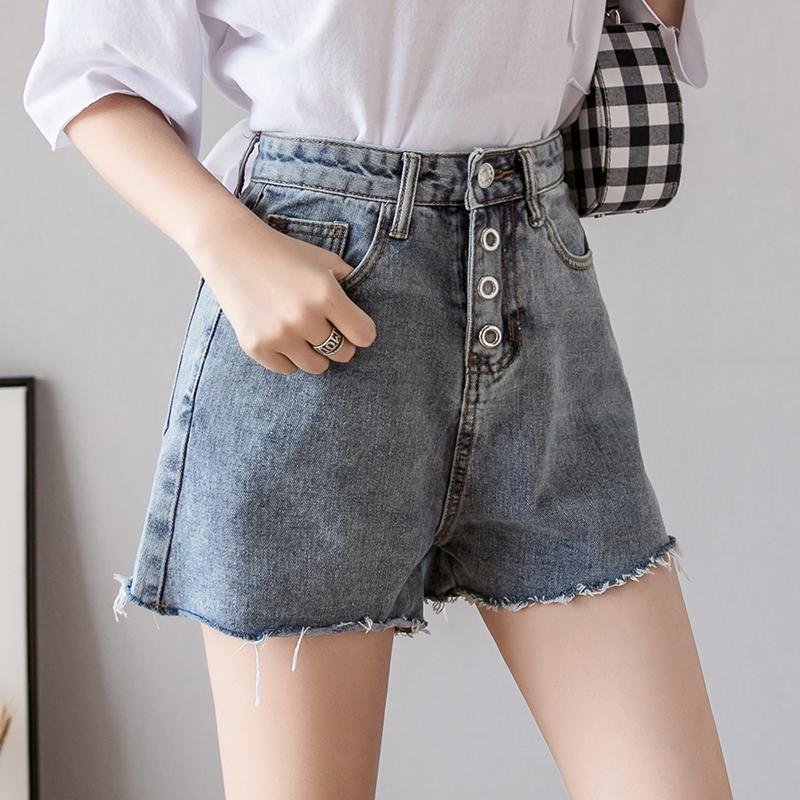 牛仔短褲女夏2019新款寬松顯瘦學生牛仔褲高腰毛邊破洞闊腿褲熱褲