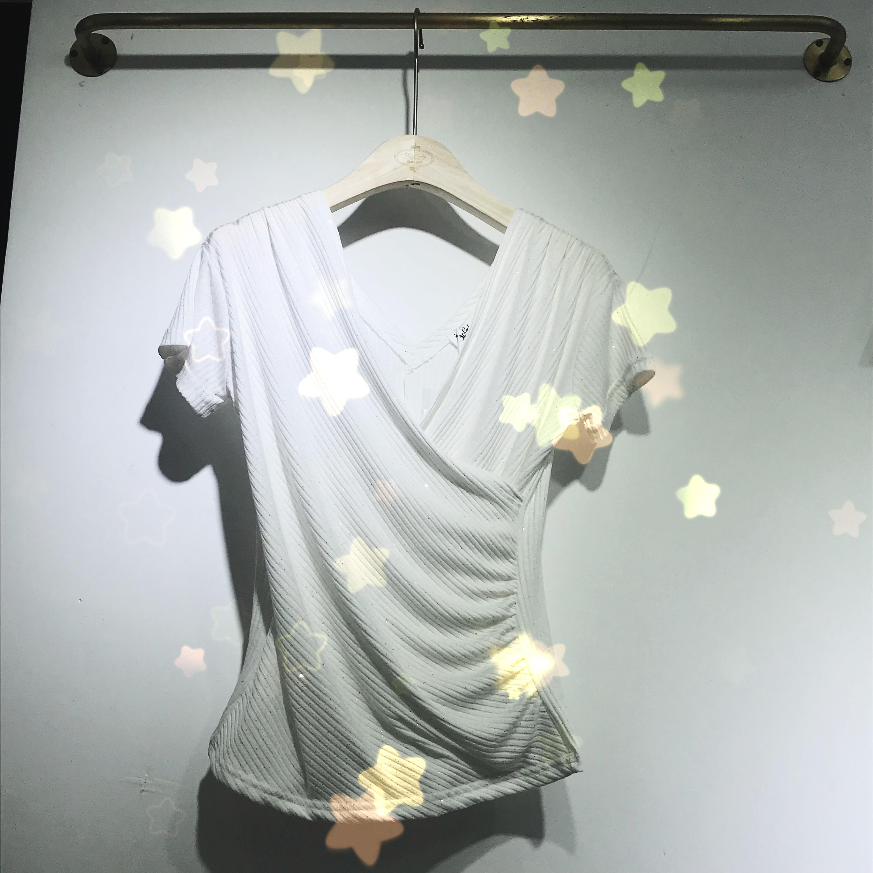 2019春夏新款女装简约修身上衣扭结闪银短袖打底T恤衫女