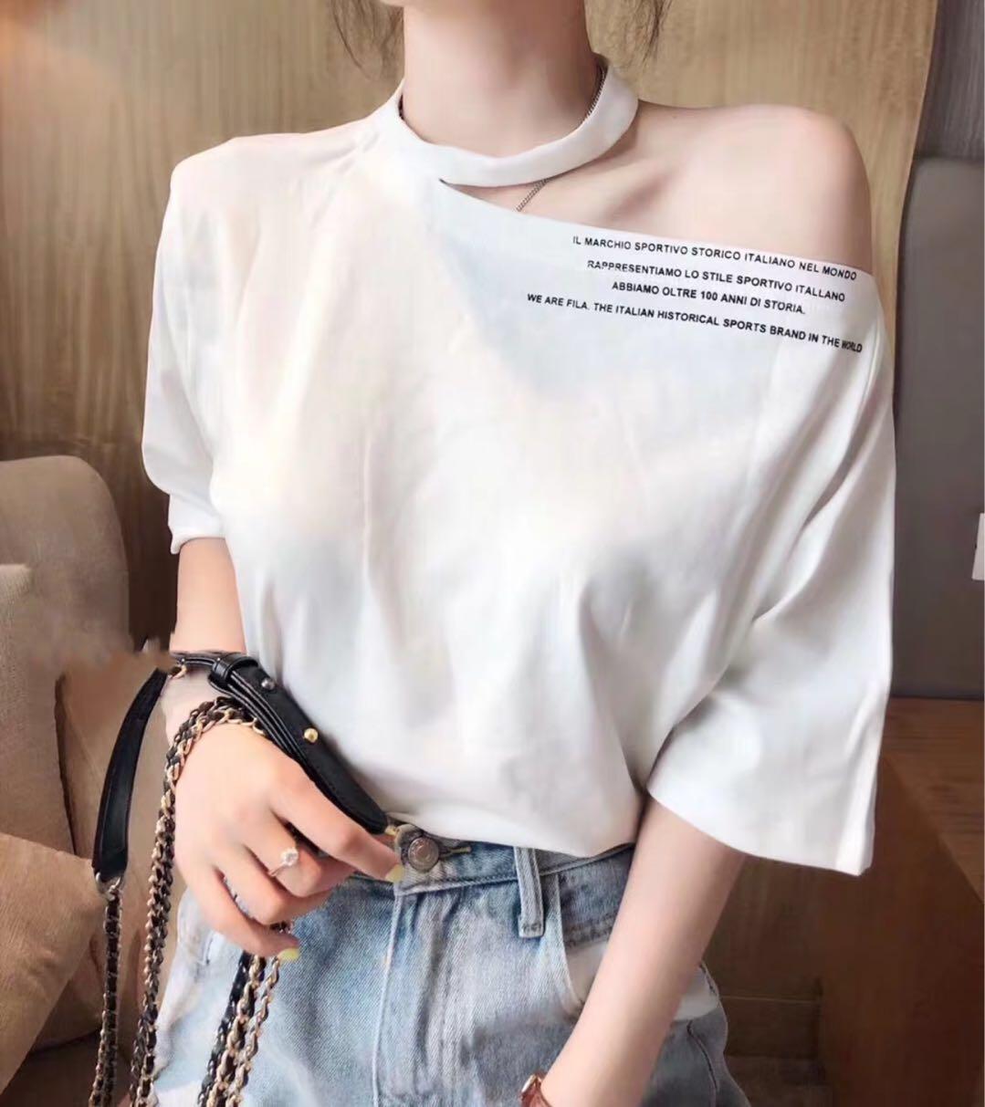 2019年春季新品 欧货欧洲站斜边字母五分袖子性感女人味T恤shang