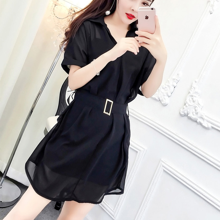 时尚套装2019夏装新款韩版学院风吊带+衬衣领雪纺连衣裙两件套潮