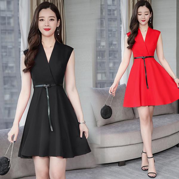 KTY12681#欧洲站春夏新款气质知性优雅女装修身显瘦收腰无袖连衣裙