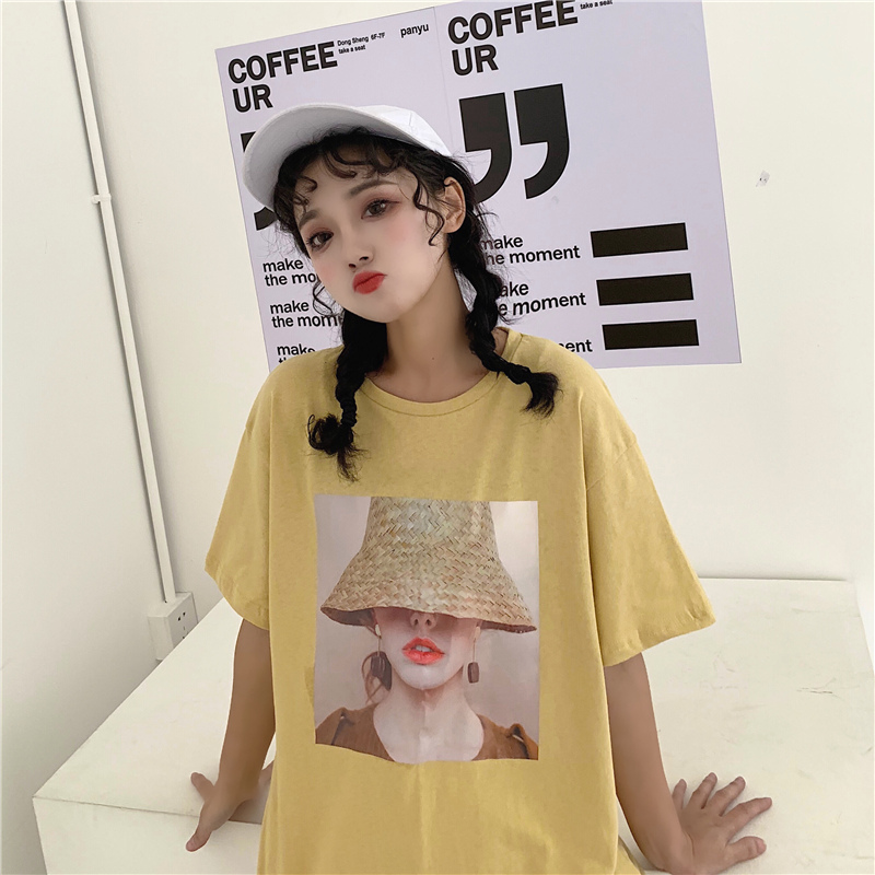 實拍2019夏季學院風韓版寬松圓領印花人物圖案短袖T恤女100%純棉