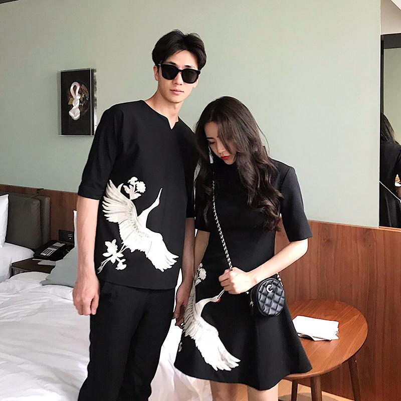 4-5号实拍出中国风情侣装夏装新款韩版仙鹤中长款A字唐装T恤