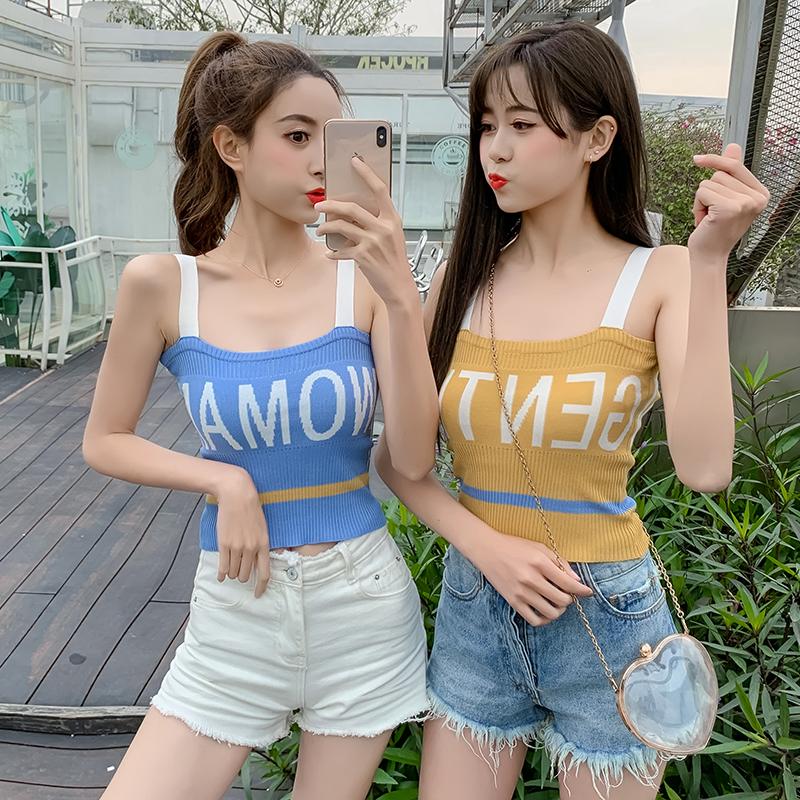 2019夏季新款韓版閨蜜裝字母無袖短款打底針織衫背心女外穿小吊帶