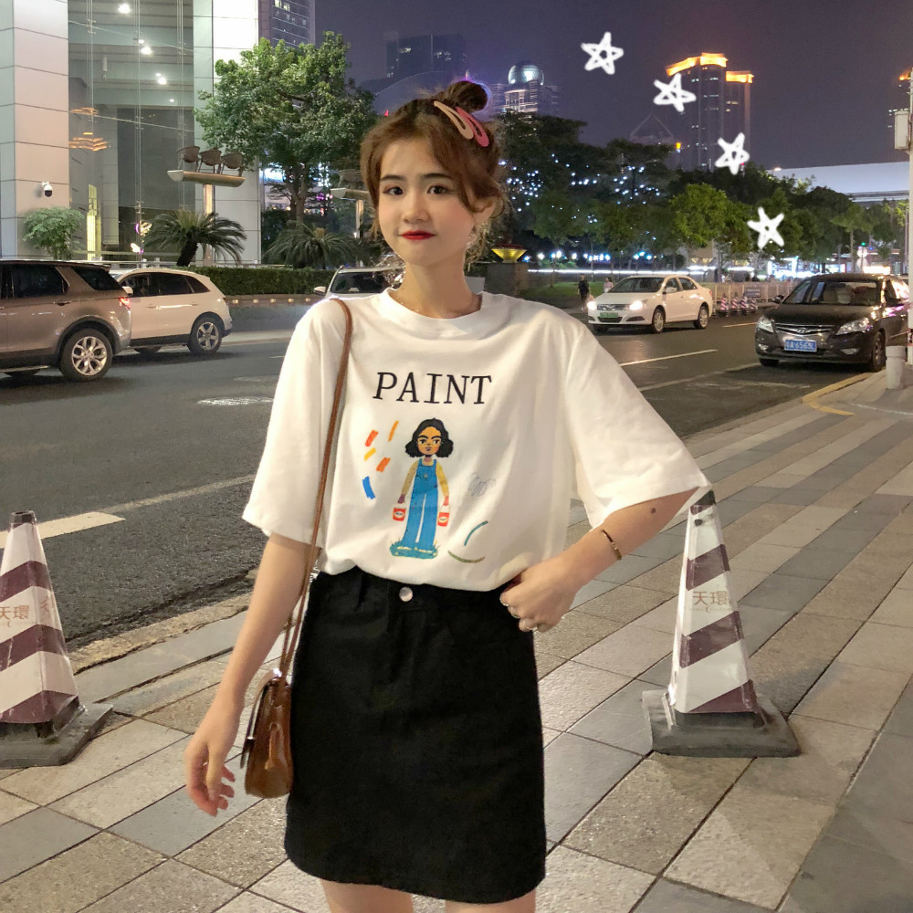 售价请加5 韩国2019新款卡通印花短袖T恤女
