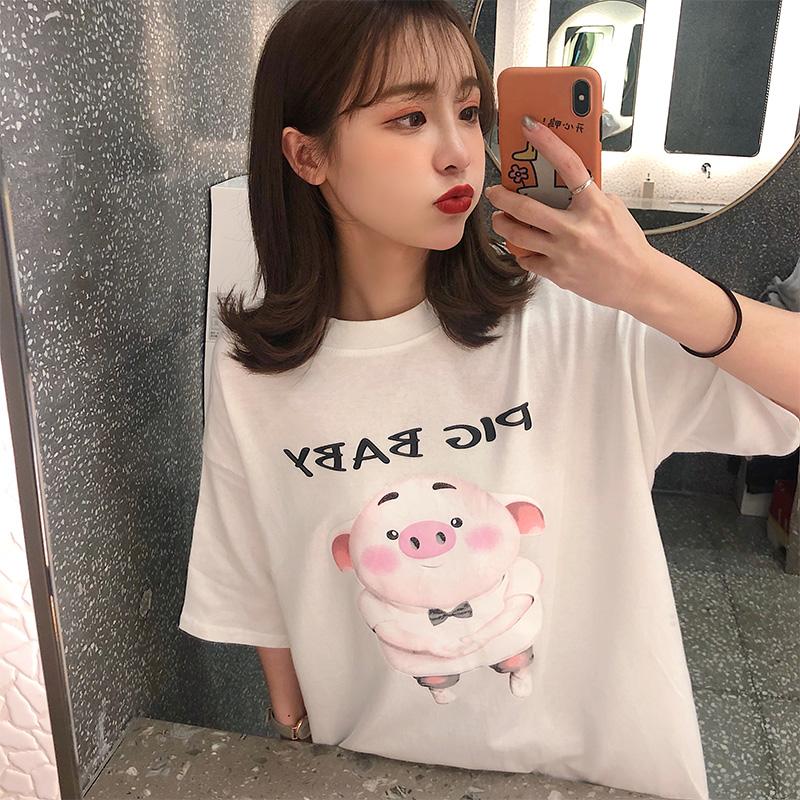 实拍2019夏款棉质不下架韩版宽松短袖中长t恤女时尚体恤上衣