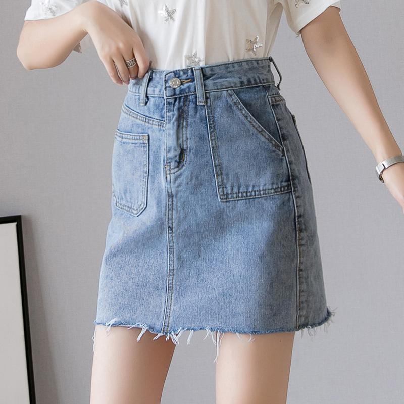 高腰A字牛仔短裙女港味2019春夏新款韩版百搭包臀ins超火的半身裙