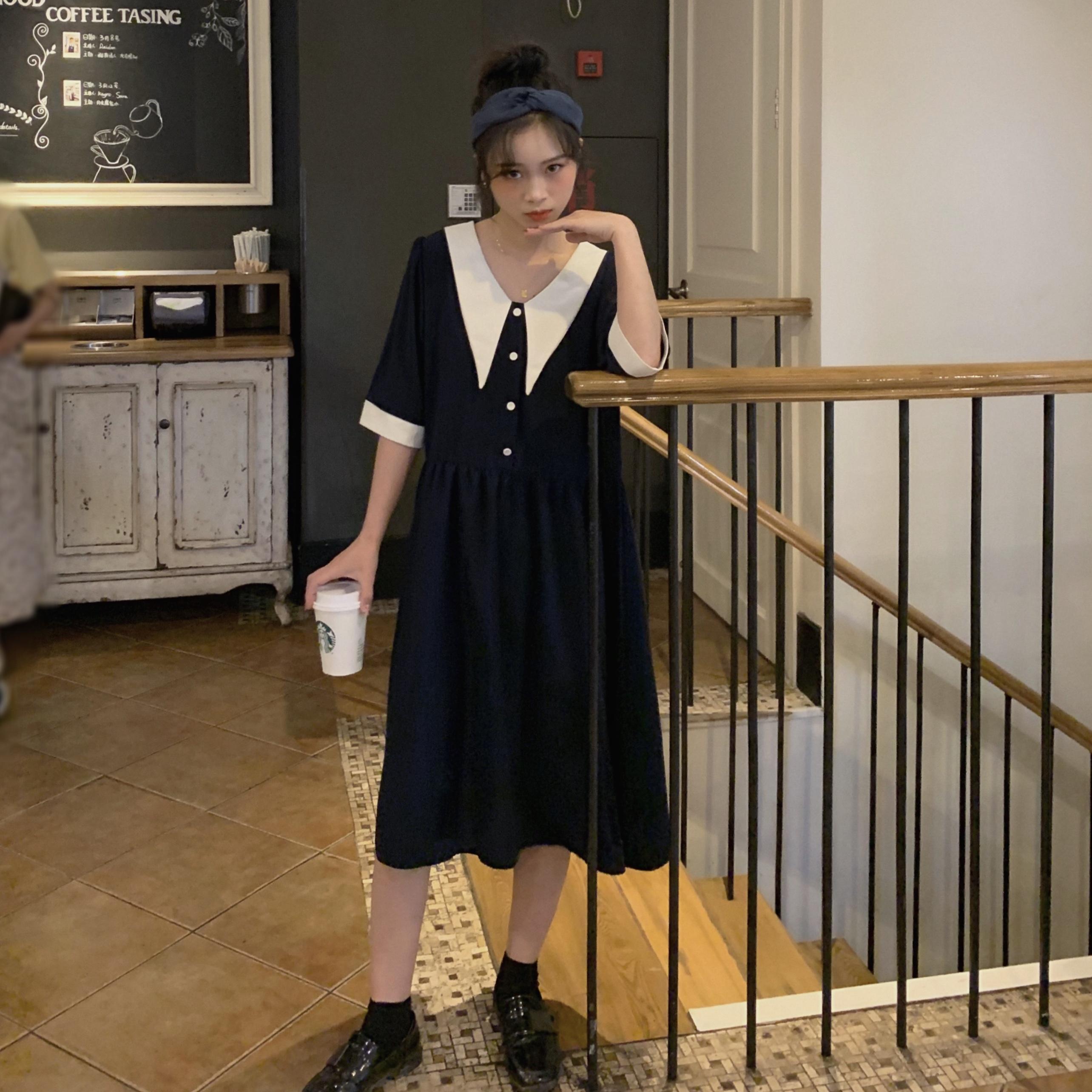 控價請加5 實拍實價韓版寬松娃娃領連衣裙學院風