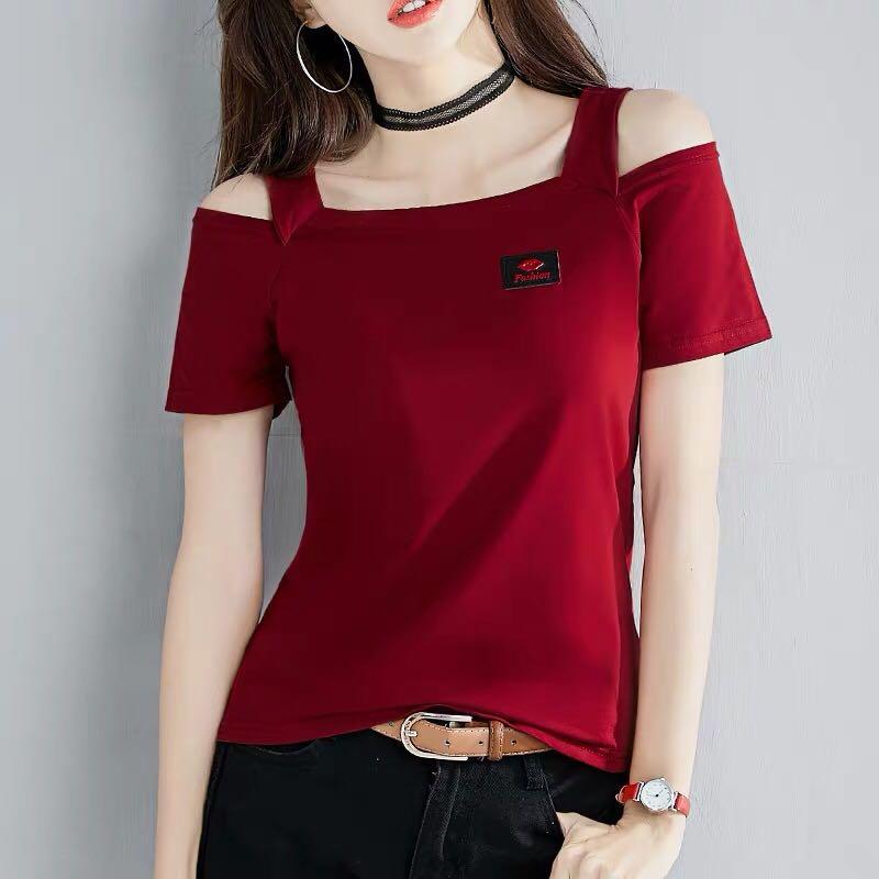 纯棉t恤女短袖2019新款夏装修身网红半袖心机一字肩露肩上衣服潮