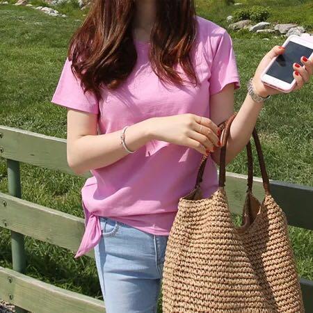 韩版2019春夏装新款韩国简约修身显瘦短袖粉色T恤女纯棉学生上衣