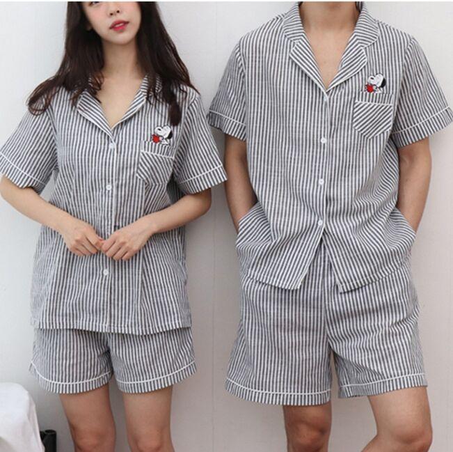 情侶款#配眼罩# 新品 史努比卡通條紋情侶睡衣家居服套裝