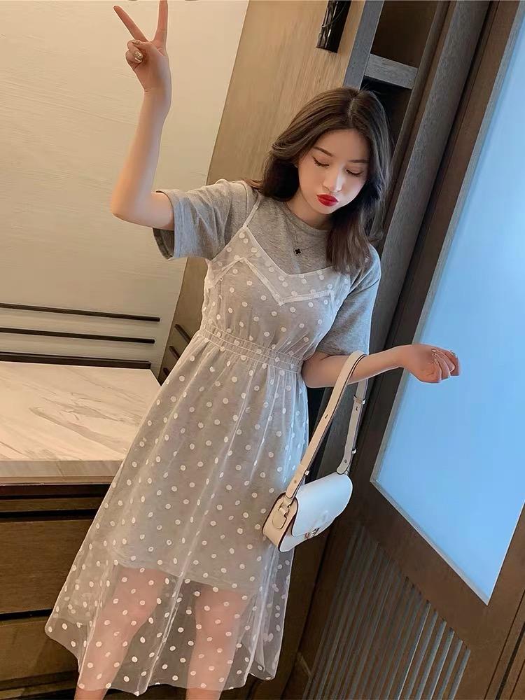 韩版T恤连衣裙网纱波点吊带裙套装