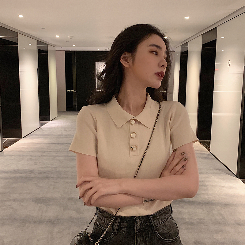 SIXONE 短袖t恤女2019早春新款韩版潮学生宽松纯色百搭短款polo衫