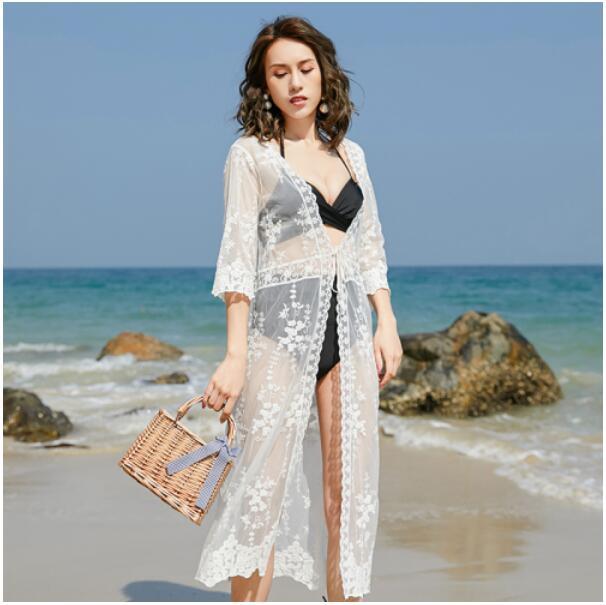 防曬衣女中長款蕾絲花邊鏤空開衫女夏季百搭泰國海邊度假外搭披肩