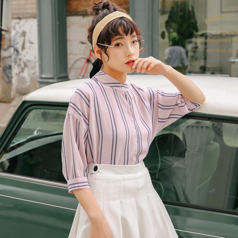 标价不低于35 实拍夏款韩版休闲条纹立领衬衣衬衫女
