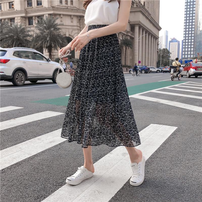 實拍2019夏季流行新款半身裙女氣質ins裙子印花百褶中長款大擺裙