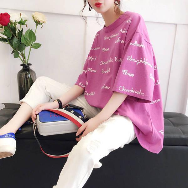 短袖女学生韩版宽松大码t恤2019新款夏季港风潮ins印花体恤衫