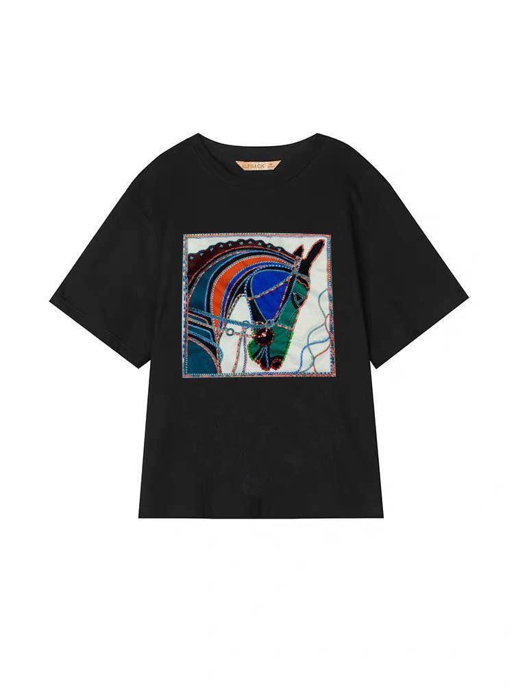 2019運動套裝網紅潮牌歐美風修身純棉韓版短袖印花T恤